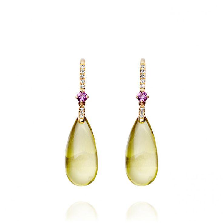 Lemon Quartz and Amethyst Drop Earrings from Kiki McDonough