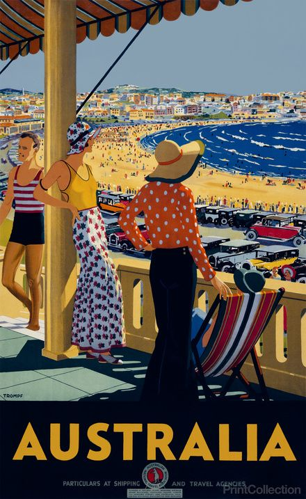 Wonderfully colourful Australia travel poster, 1930 // by Percy Trompf- features women wearing wide legged trousers in black and patterned red and white fabrics, one worn with strappy yellow top and another with long sleeved orange patterned blouse- both accessorised with big floppy hats.