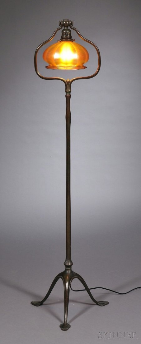Tiffany Studios Floor Lamp Bronze Verdigris And With Attributed Steuben Gold Aurene Ribbed Dome Form Shade Flared Rim