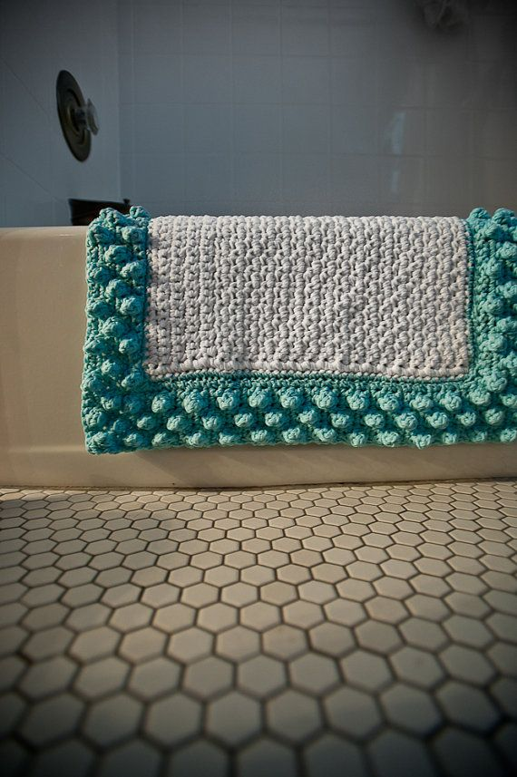 single or double crochet bath mat with bubble crochet edging: Bath Rugs, Crochet Bathmat, Crochet Bubbles, Blue Bubbles, Crochet Rugs, Bubbles Bath, Bathroom Rugs, Bath Mats, Robins Egg
