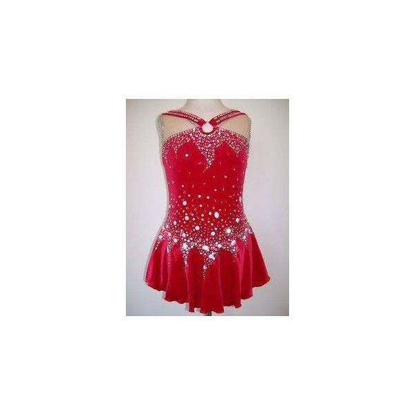 NEW ICE SKATING TWIRLING BATON COSTUME DRESS ADULT M  | eBay ❤ liked on Polyvore featuring costumes, sport costumes, sports halloween costumes, adult halloween costumes, sports costumes and red costumes