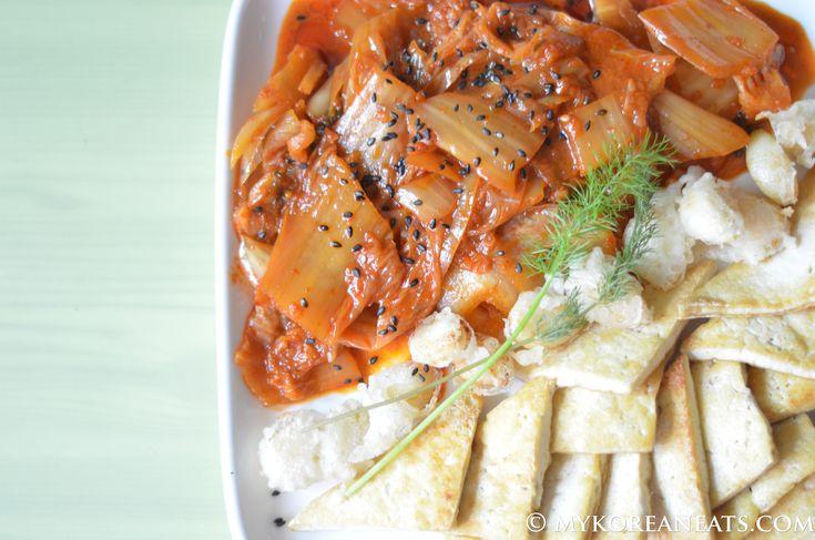 Vegetarian Dubu Kimchi 두부 김치 (Tofu w Sauteed Kimchi)  www.facebook.com/mykoreaneats