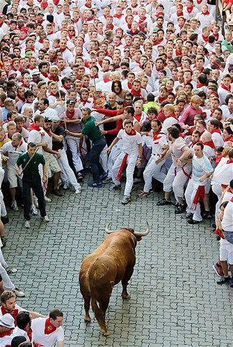 San Fermin Running of the Bulls Festival - Pamplona, Spain  .Se llama Encierro.? Quien encierra a quién?