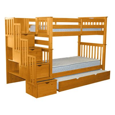 Stairway Tall Twin Over Twin Bunk Bed with Trundle