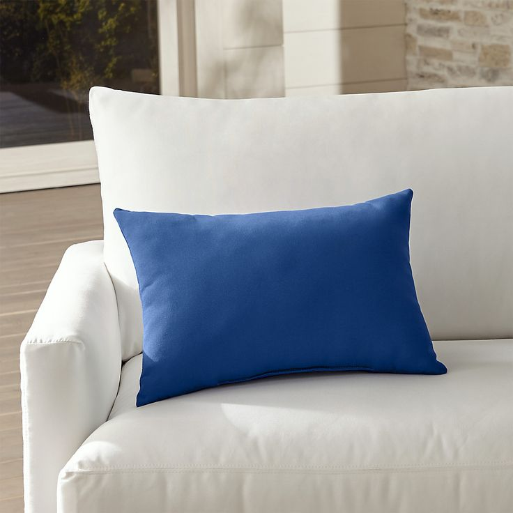 Shop Sunbrella ® Mediterranean Blue Outdoor Lumbar Pillow.  Mediterranean blue pillow mixes and matches with our solid and print outdoor pillows.  Rectangular pillow is covered in weather- and fade-resistant Sunbrella fabric to keep the look fresh.