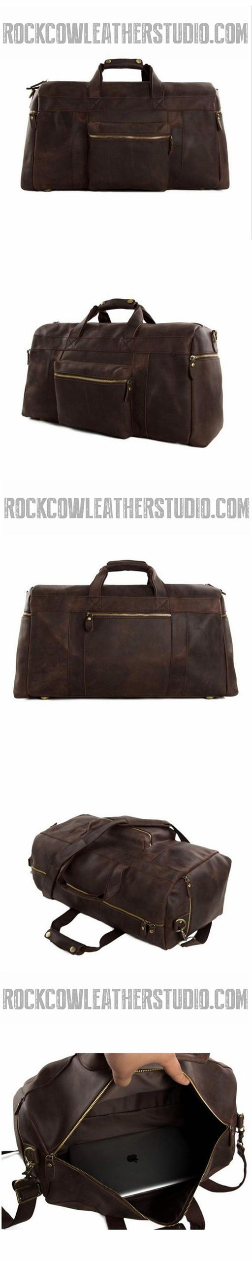 "Vintage Genuine Leather Cowhide 23"" Large Capacity Travel Luggage Men Duffle Gym Bags 1098"