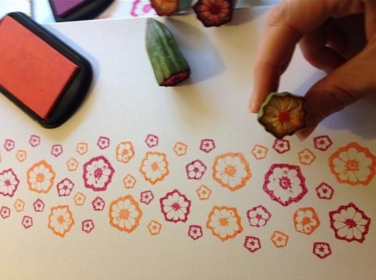 Okra Flower Stamping - Cheap Crafting