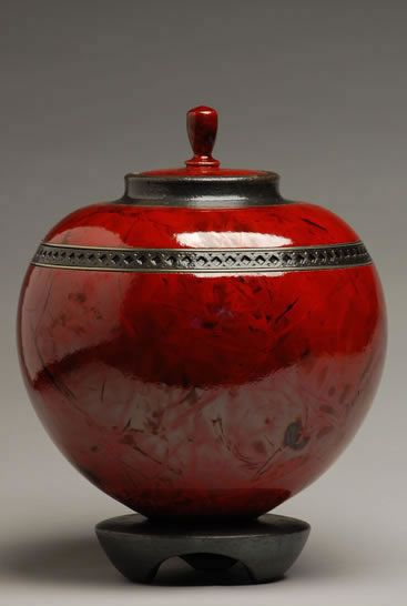 red creamation urn   Round Red Raku Cremation Urn