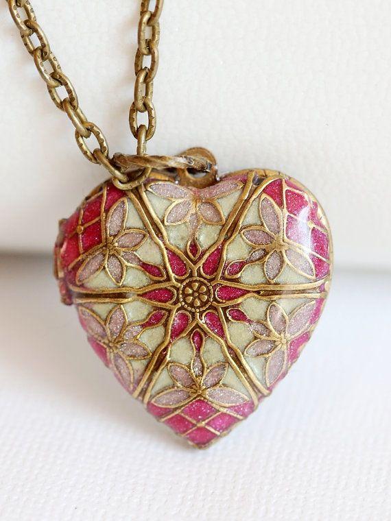 Medaillon+koperen+medaillon+sieraden+cadeau+roze+rood