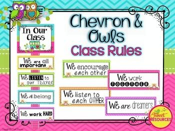 Display your classroom rules with this adorable Chevron and Owl themed poster set. This display was made with a positive spin, and a selection of rule cards have been created for your personal preference. Included in this package are editable cards for you to create your own classroom rules if you wish.
