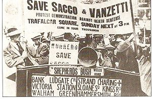 Protest for Sacco and Vanzetti in London, 1921