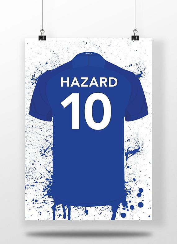 Hazard  Chelsea FC  Illustrated Football Shirt Print
