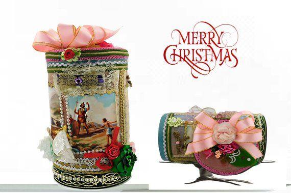 """Regalo oriental para niños. Impresionante caja de juguetes para niños y niñas """"David y Goliat"""", personalizada con etiqueta de evento y envuelta de lujo. Diseño especial   – Add your best Handmade Gifts"""