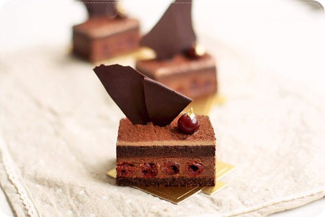 griotte syrup-soaked chocolate joconde sponge, griottes, dark chocolate chantilly, milk chocolate chantilly