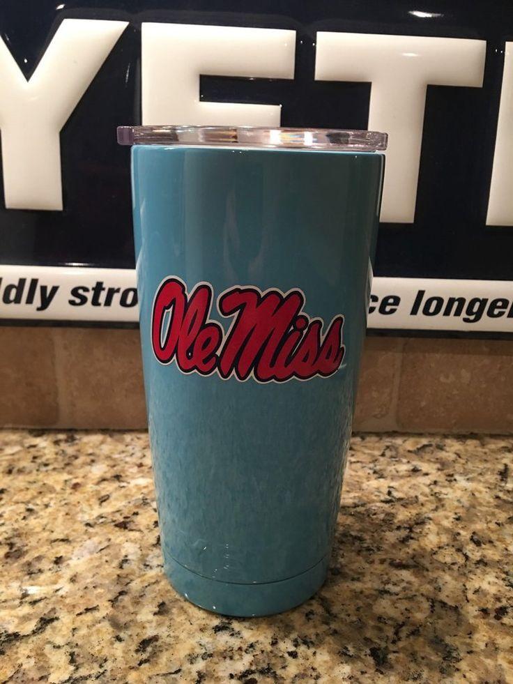 Custom YETI Rambler Tumbler Powder Coated Light  Blue with Ole Miss Logo -University Of Mississippi