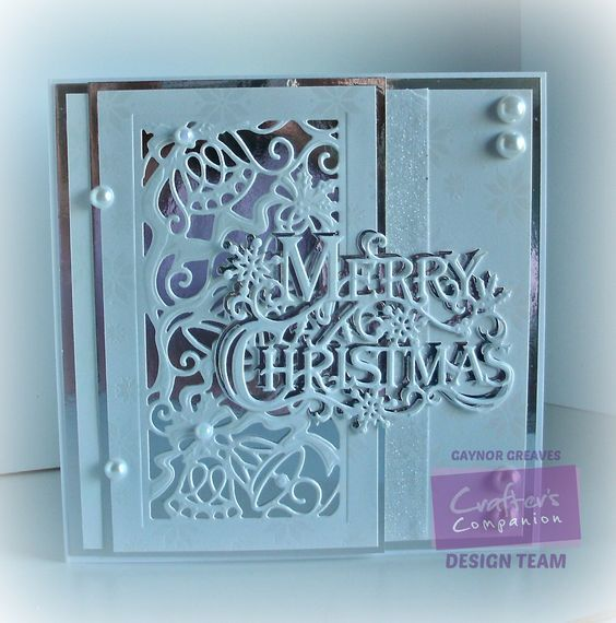 7 x 7 card using the Sara Signature Traditional Christmas. collection Christmas Bells & Festive Greeting die - designed by Gaynor Greaves #crafterscompanion #Christmas