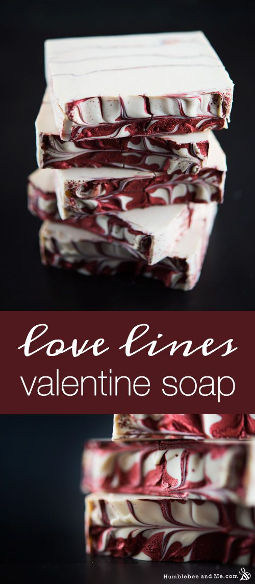 This pretty Love Lines Valentine Soap is lovely for DIY Valentine's Day gifts! It boasts pretty red mica veins and shimmery swirls on top and  smells like roses and vanilla.