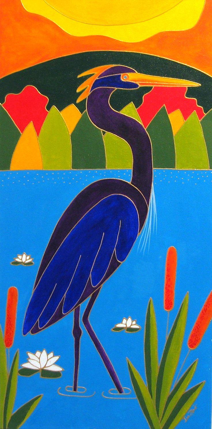 Le grand héron bleu par Isabelle Malo • Acrylique sur toile • Folk art • www.isamalo.com • Artiste peintre du Québec • Art naïf