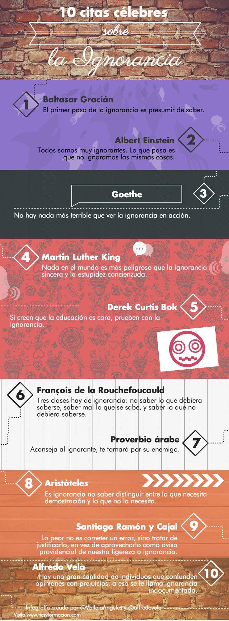 Hola: Una infografía con 10 citas célebres sobre la ignorancia. Realizada con Piktochart. Un saludo