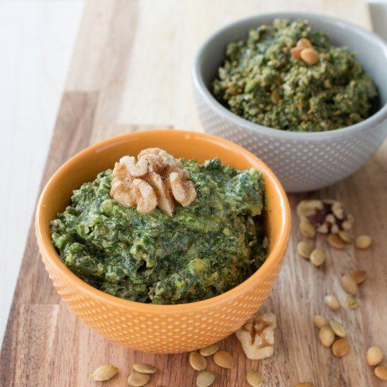 Dandelion Pumpkin Seed and Basil Walnut Pesto. Vegan Pesto full of flavor and nutrition!