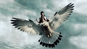 Preview wallpaper bird, girl, fly, wings 1366x768