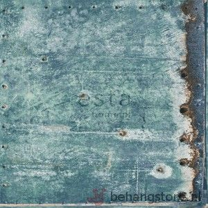 Esta Vintage Rules behang betonblokken turquoise roestbruin - Vintage Rules behang+fotowanden - Esta home - Behang - Behangstore