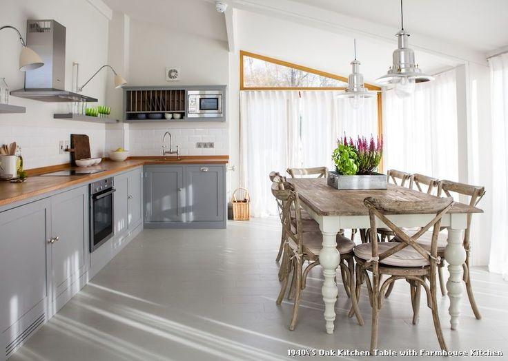 1940'S Oak Kitchen Table with Farmhouse Kitchen, kitchen appliances from 1940'S Oak Kitchen Table