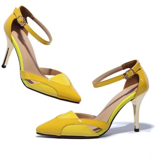 Womens Sexy Ankle Strap Pumps Mary Janes Stiletto High Heels Yellow Court Shoes | eBay