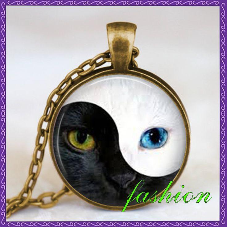 Новинка кот глаза инь ян ожерелье китайский инь ян кулон ювелирные изделия уникальный подарок дзен ожерелье стеклянным куполом ожерелье искусство подвеска