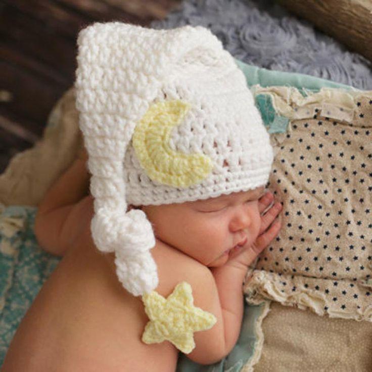 Baby Newborn Photography Props Baby Winter Hat Crochet Knitted Beanie Cap Girls Boy Hat Long Tail White Fotografia Newborn
