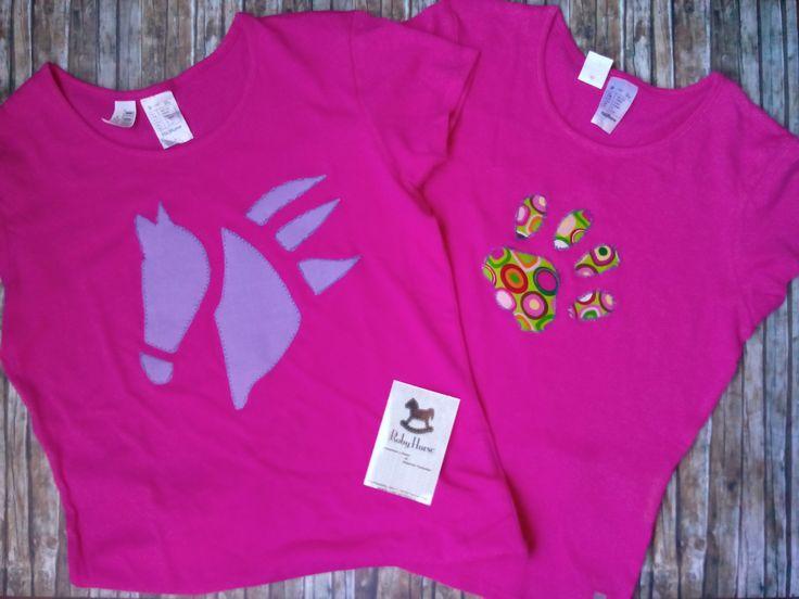 Magliette in cotone con applicazione in cotone americano...disegni stilizzati realizzati da Roberta Tomanin...