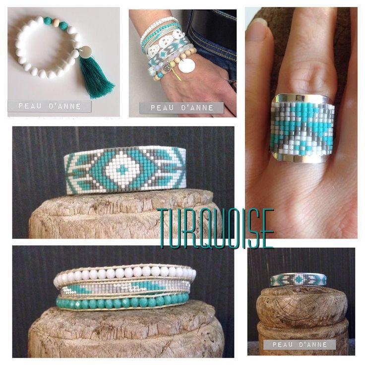 Sélection de bijoux turquoise et blanc #bague #perles #tissageperles #bracelet #manchette #miyuki #pompon #wrap #facettedeboheme #faitmain #turquoise #blanc #alittlemarket #peaudanne