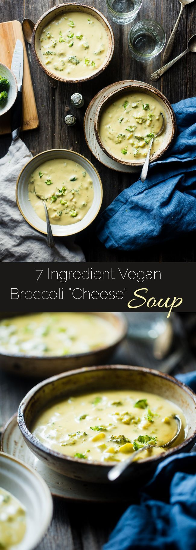 7 Ingredient Vegan Broccoli Cheese Soup - SO thick, rich and creamy you would never know it's dairy free, gluten free and healthy! It's ready in only 15 minutes and SO easy to make!