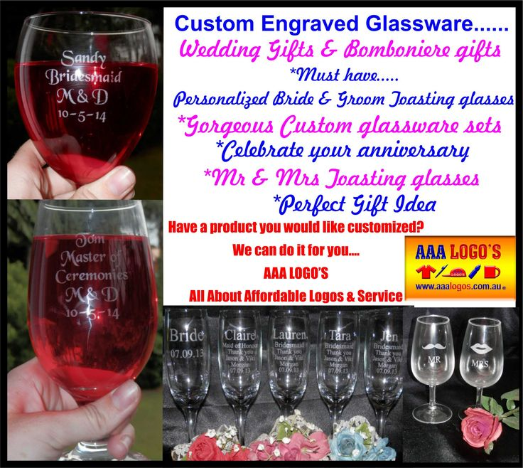 Engraved wedding glasses customized & personalized for you.  http://www.aaalogos.com.au/engraving.htm