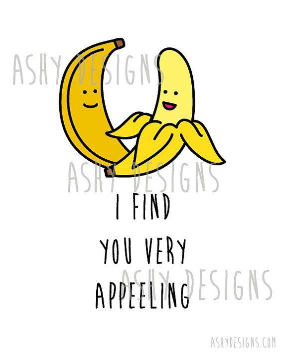 Banana Fruit Pun I Find You VERY APPEELING Wall by AshyDesigns