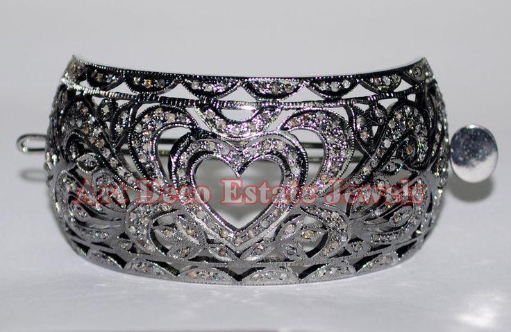 3.55cts ROSE CUT DIAMOND HAIR JEWELERY FOR HEART HAIR PIN