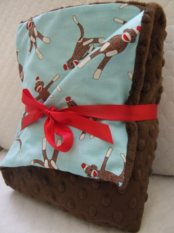 Cute sock Sock monkey and minky baby blanket - perfect for this fabric