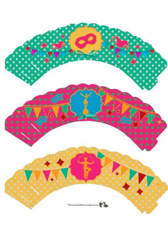 Celebraciones Caseras: cupcake wrappers carnaval