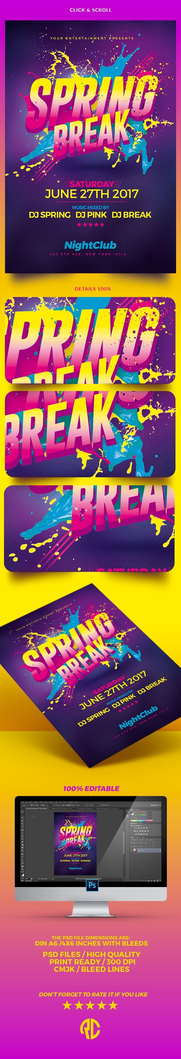 New ! Spring Break Party | Flyer Template Exclusive Template, Very easy to Edit and Creative Design perfect to promote your Spring Party !