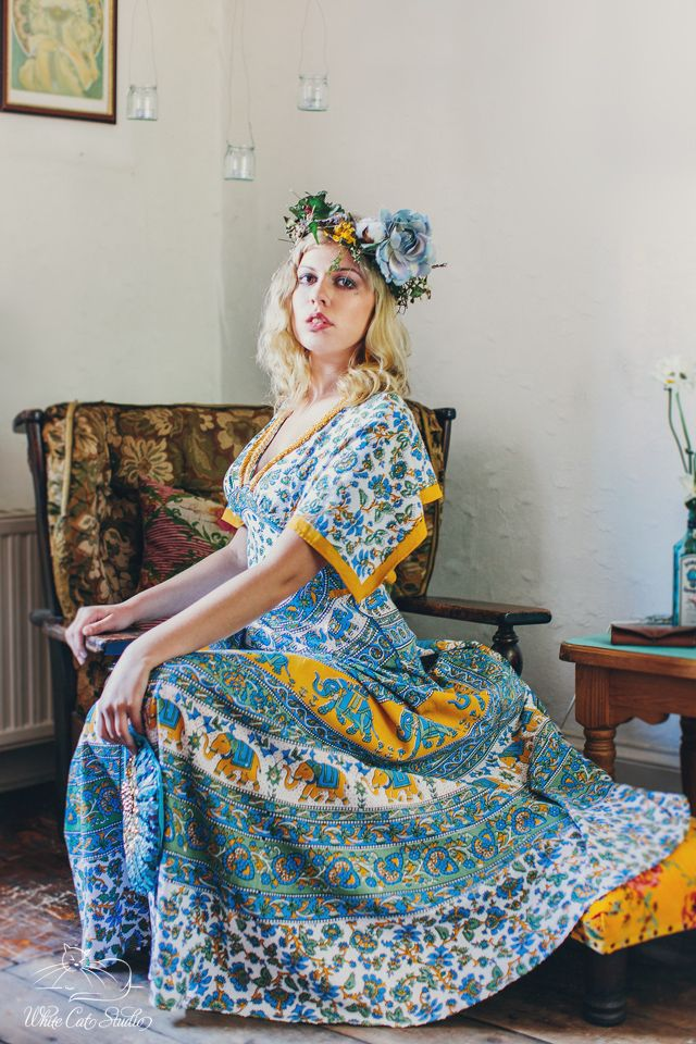 Alice Halliday 'Blue Elephant Dress' size 10-12 €200 from Brocade & Lime boutique | Modeled by Kayleigh Robinson | Photographed by White Cat Studio | Hair & makeup by Rosa O
