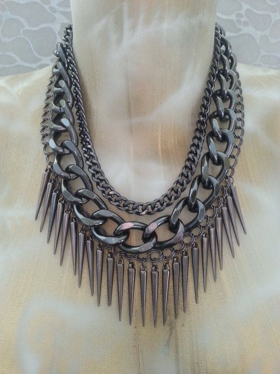 Gunmetal spiked chunky chain necklace by MEDICINA Designs