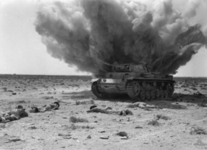 Panzer_III_exploding_1942 - The major Allied offensive at Alamein in October 1942 reversed the losses sustained in July.