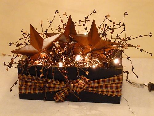 barn star box berries lights country primitive decor ebay asking 21
