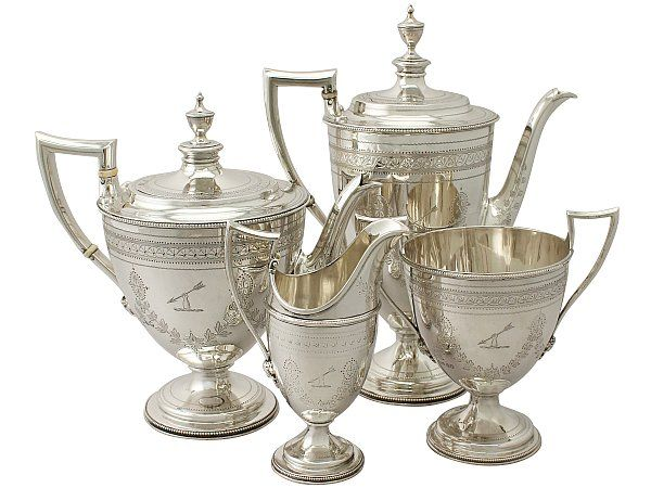 USD $5,242.19 An exceptional, fine and impressive antique Victorian English sterling silver four piece tea and coffee service/set made by Barnard & Sons Ltd
