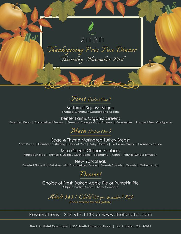 Join us for a delicious #Thanksgiving dinner at Ziran tomorrow! #dtla. #restaurant