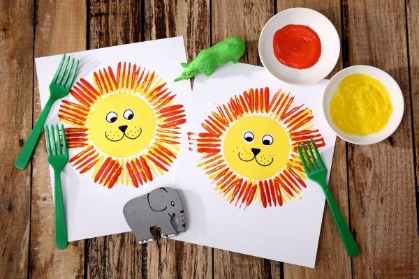 Dschungel-Party, Löwe, malen mit Gabel, Basteln mit Kindern, Kindergeburtstag, produziert für tambini.de