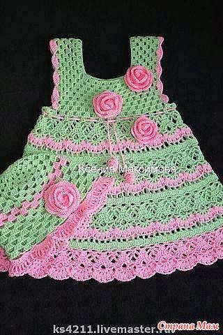 TRICO y CROCHET-madona-mía: Vestidos para bebe a ganchillo con patrón                                                                                                                                                      Más