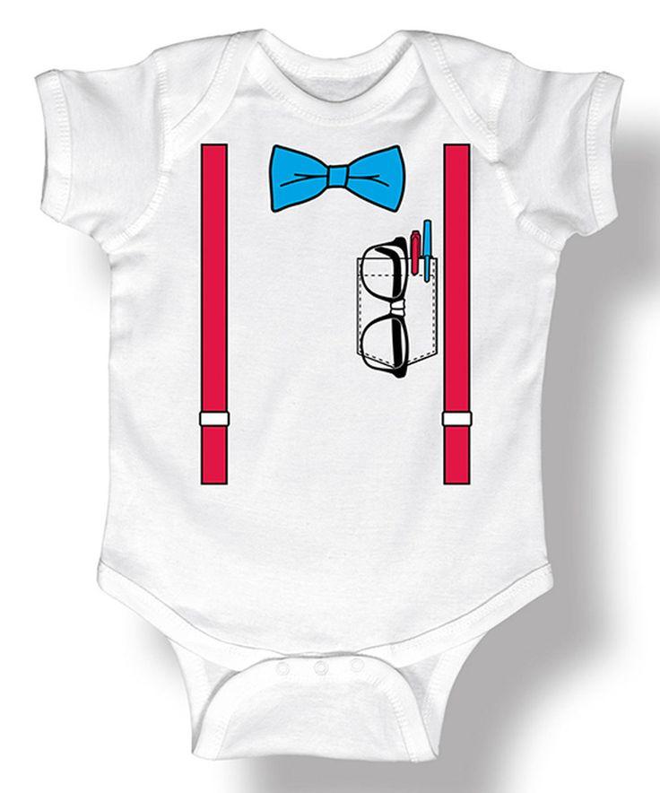 White Suspender Nerd Bodysuit - Infant by Tuxedo Tees #zulily #zulilyfinds