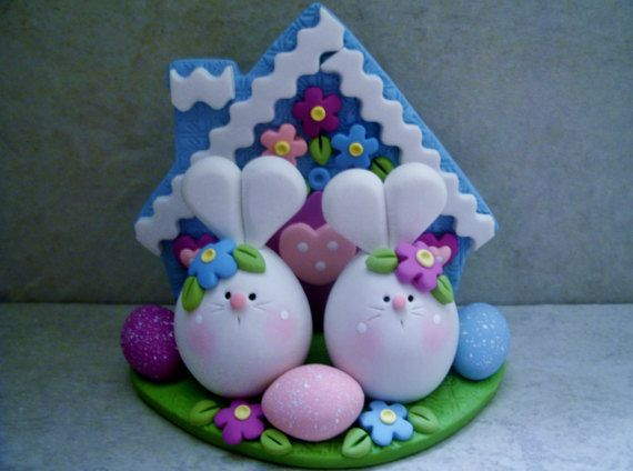 Bunny Pair Easter Eggs Polymer Clay by countrycupboardclay