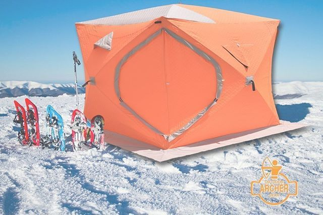 "Waterproof Windproof Snow and Ice Tent  for ice fishing and extreme winter camping Extra large snow tent 5'5""l x 5'5"" w x 6'8""h portable, 2-man tent has lots of elbow room for you and your gear Compact and lightweight ice hut weighs only 23 lbs. so it's easy to haul with the rest of your equipment http://amzn.to/2kcfVKk #tent #winter #waterproof #outdoors #icefishing #adventure #activities #amazon"